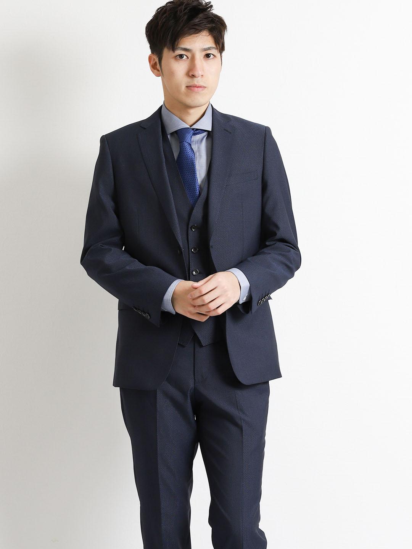 ミックスブライト 紺 3ピーススリムスーツ