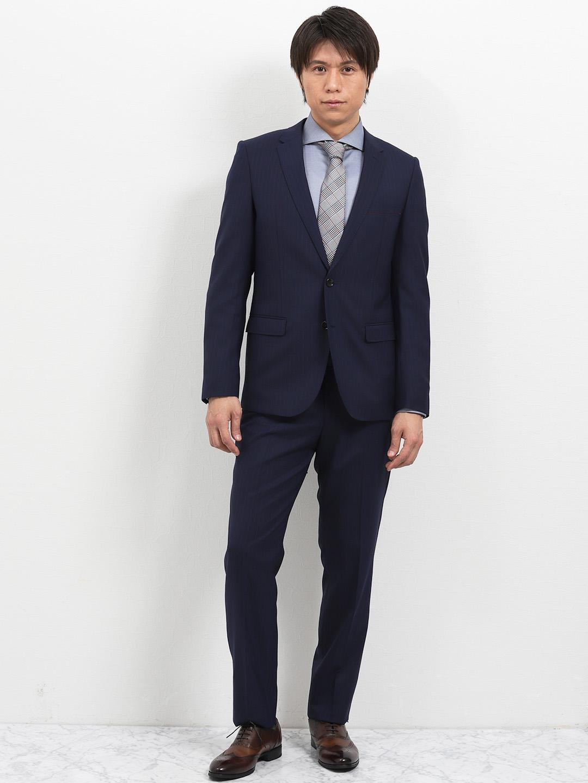 ウォッシャブル ストライプ紺 2パンツ スリムスーツ