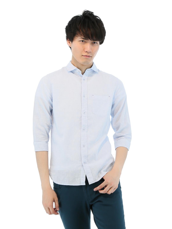綿麻ハケメカッタウェイ7分袖シャツ