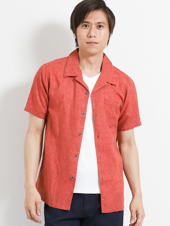 フレンチリネン混 オープンカラー半袖シャツ