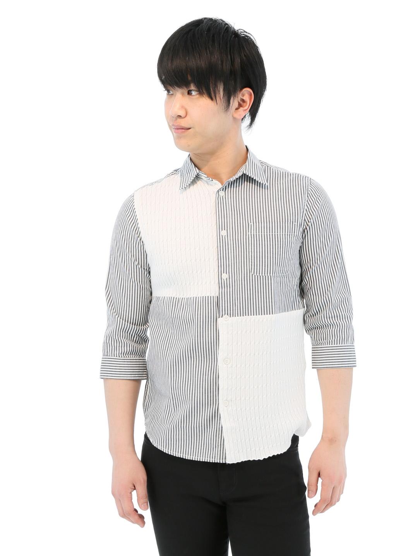 ケーブルニット切替レギュラーカラー7分袖シャツ