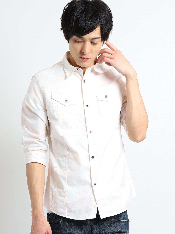 オックスムラプリント レギュラーカラー7分袖シャツ