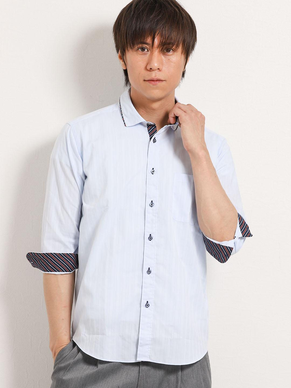 サッカーパイピング衿ワイヤー7分袖シャツ