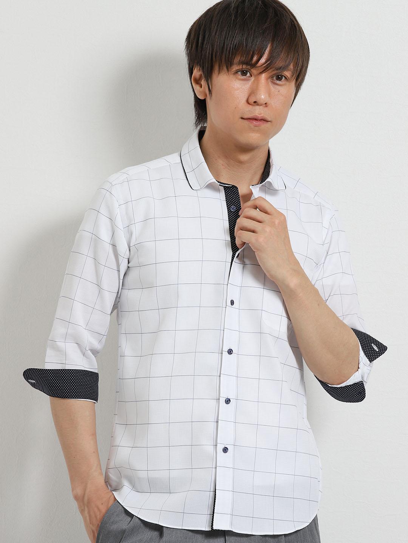 パナマウィンドペン パイピング衿ワイヤー7分袖シャツ