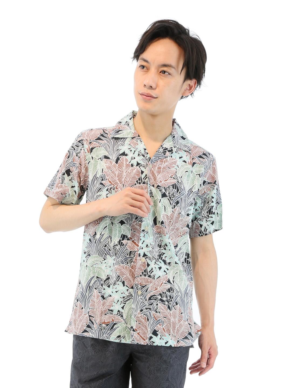 reyn spooner (レイン スプーナー)総柄プリントオープンカラー半袖シャツ