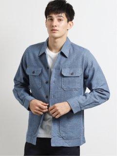 綿麻オープンカラー長袖シャツブルゾン