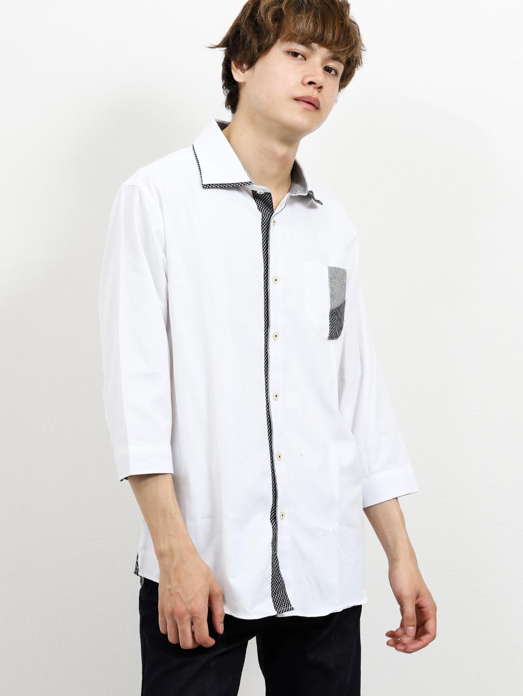 市松ドビー2枚衿ワイドカラー7分袖シャツ