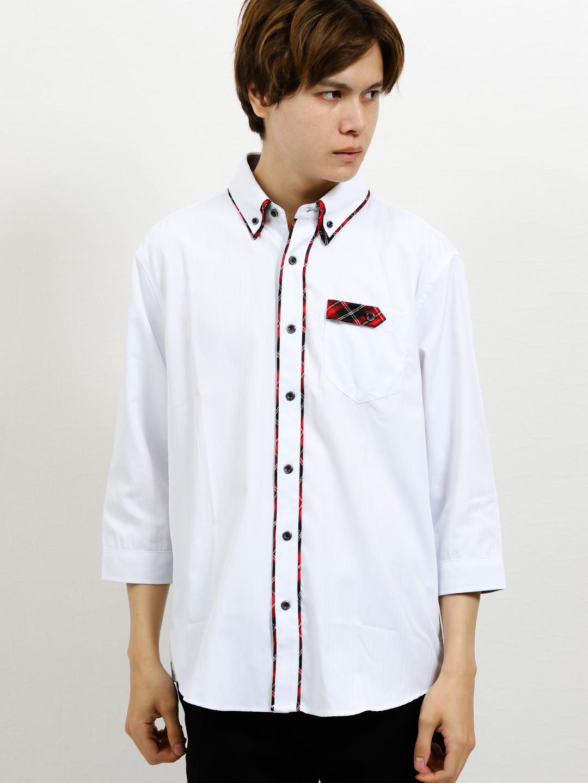 ドビーストライプ2枚衿ボタンダウン7分袖シャツ