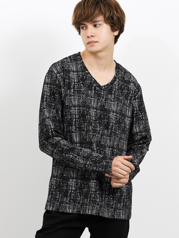 ストレッチ かすれジャガードVネック長袖Tシャツ