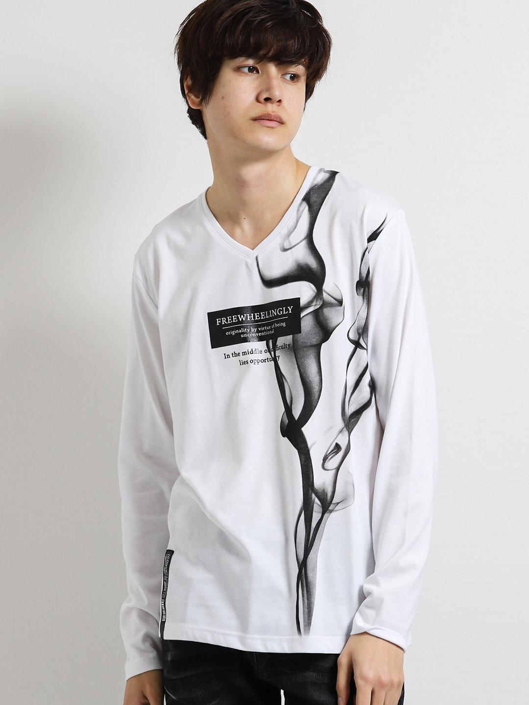 ケムリ柄BOXロゴ グラフィックVネック長袖Tシャツ