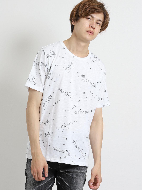 スラブ天竺総柄裏使いクルーネック半袖Tシャツ