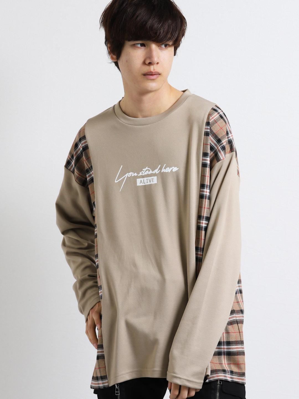 【WEB限定Sサイズ有り】ストレッチポンチチェック切替長袖BIGTシャツ