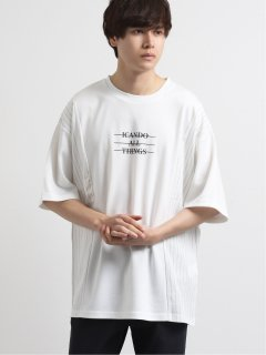 ストレッチポンチ ストライプ切替半袖BIGTシャツ
