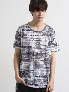 シェラック/SHELLAC メッセージ総柄グラフィック クルーネック半袖Tシャツ