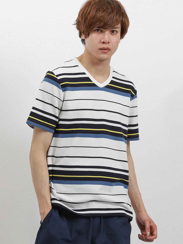 接触冷感 リップルボーダーVネック半袖Tシャツ