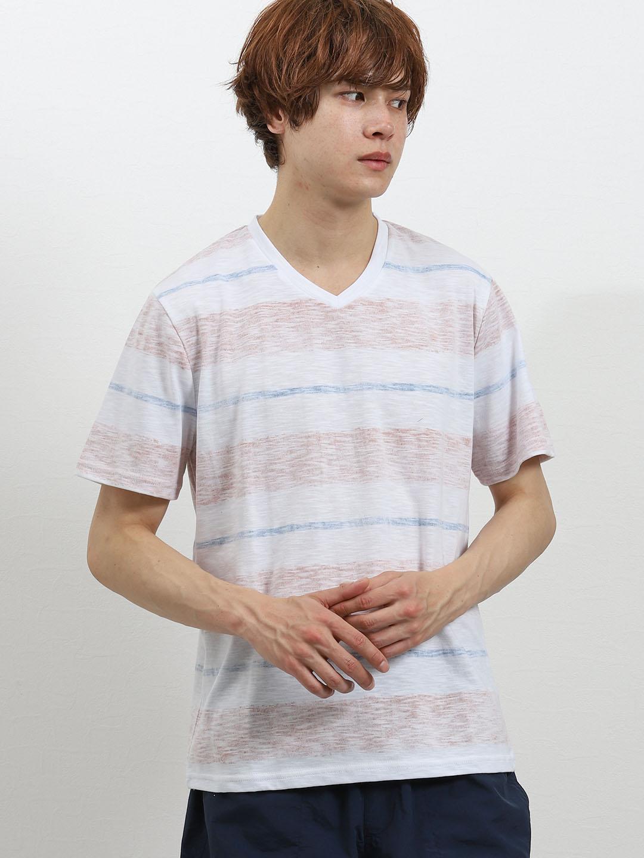 接触冷感 スラブ裏プリントボーダーVネック半袖Tシャツ