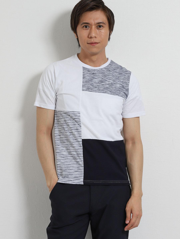 接触冷感 クレイジー異素材切替クルーネック半袖Tシャツ