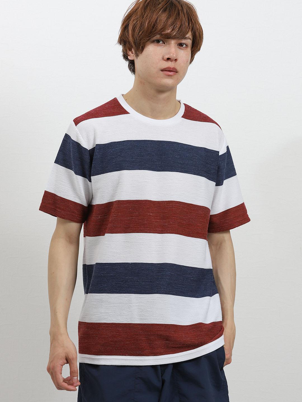 接触冷感 スペースリップルボーダークルーネック半袖Tシャツ