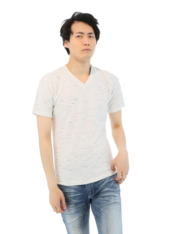 コールドタッチスラブリップルVネックTシャツ