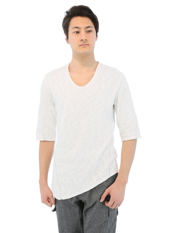 SHELLAC 裁ち切り7分袖Tシャツ