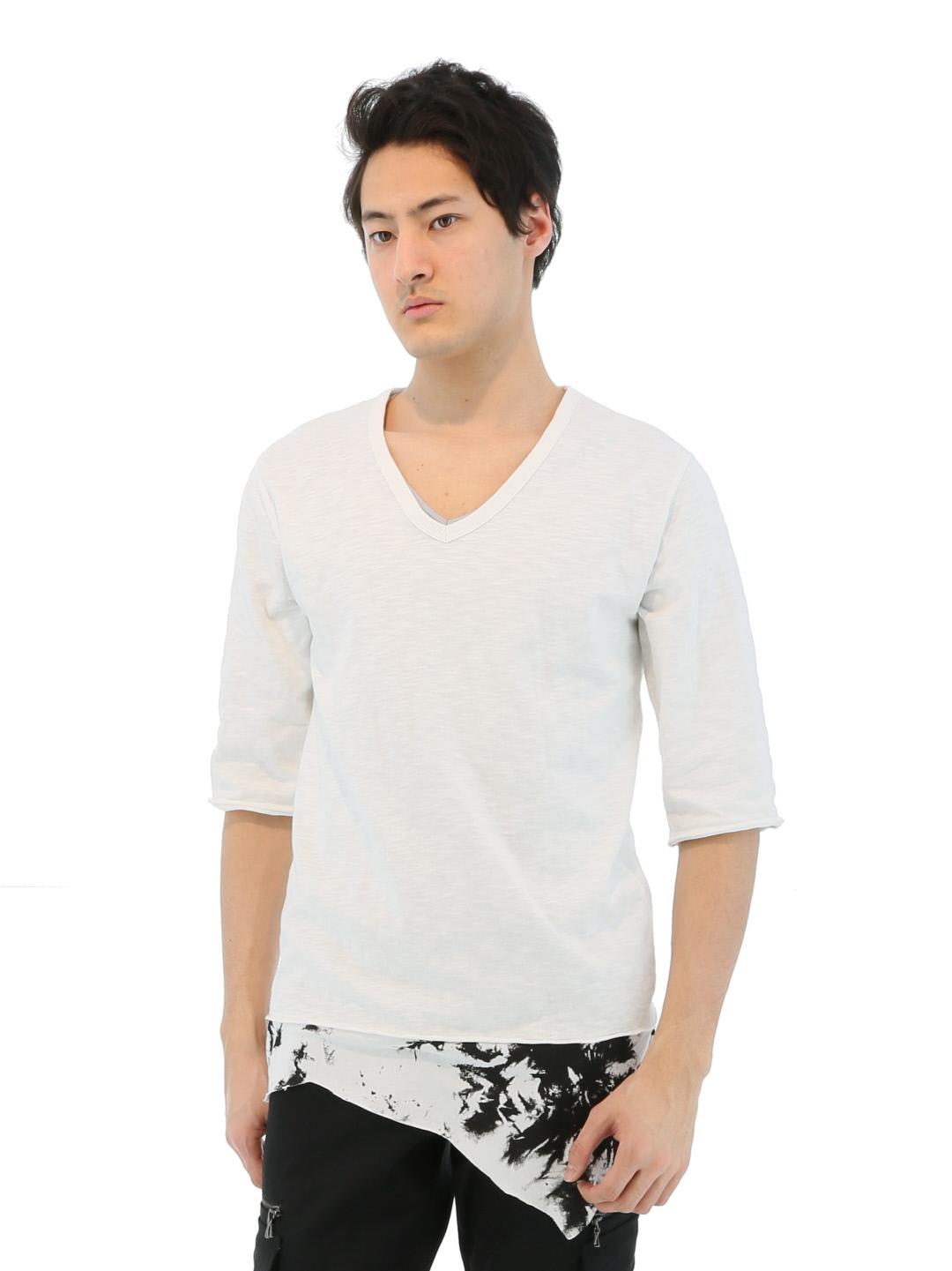 SHELLAC スラブ天竺7分袖Tシャツ