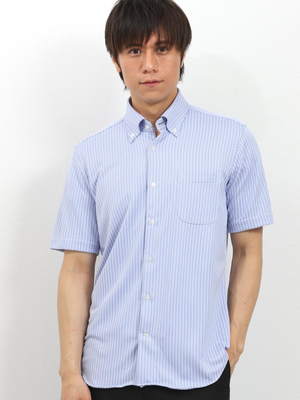 Biz 接触冷感ストライプ ボタンダウン半袖カットシャツ