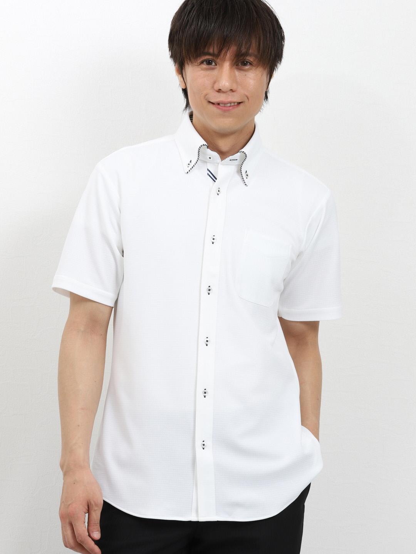 Biz パイピングボタンダウン半袖カットシャツ