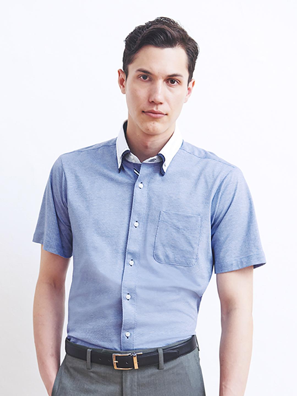 Biz 2枚衿ステッチ使いボタンダウン半袖カットシャツ