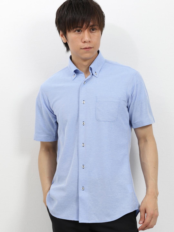 Biz 2枚衿スキッパーボタンダウン半袖カットシャツ