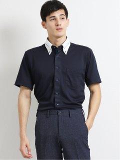 Biz クールパス/COOLPASS ボタンダウン半袖ニットシャツ 市松
