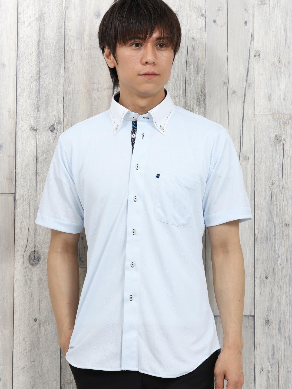 Biz エンボスチェック ボタンダウン半袖カットシャツ