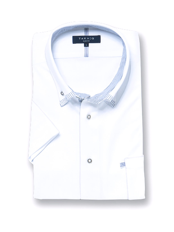 Biz エンボスストライプ  マイターボタンダウン半袖カットシャツ