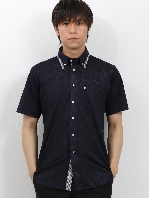 Biz エンボスチェック マイターボタンダウン半袖カットシャツ