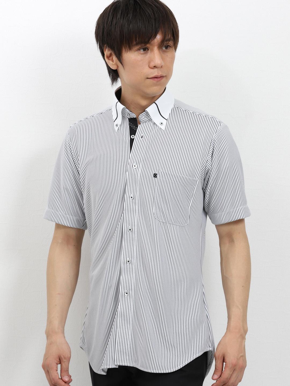 Biz 鹿の子ストライプ クレリックボタンダウン半袖カットシャツ