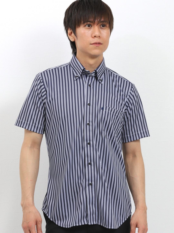 Biz 鹿の子ストライプ パイピングボタンダウン半袖カットシャツ