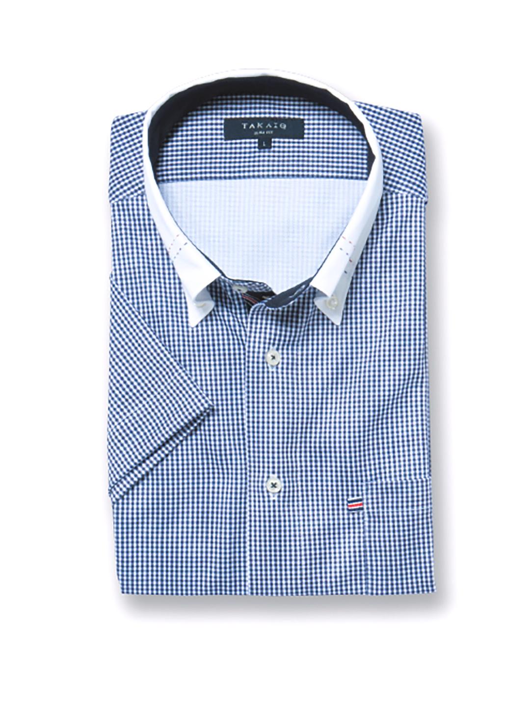 Biz ギンガムチェック クレリックボタンダウン半袖カットシャツ