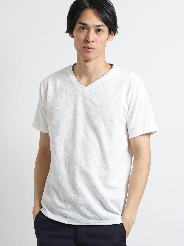 リンクスジャガードリーフ柄 Vネック半袖Tシャツ
