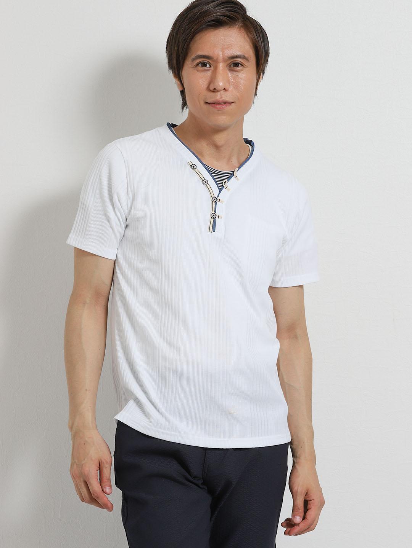 DRY トリッキーランダムテレコYヘンリー半袖Tシャツ