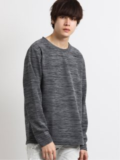 メランジリップル クルーネック長袖Tシャツ