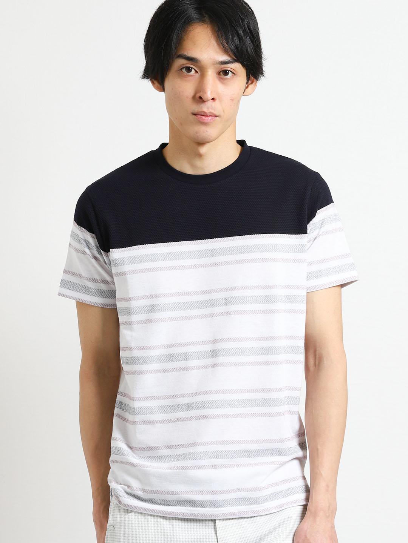 ポップコーンヘリンボンボーダー クルーネック半袖Tシャツ