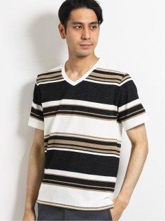 ボルテックス/VORTEX リップルマルチボーダーVネック半袖Tシャツ