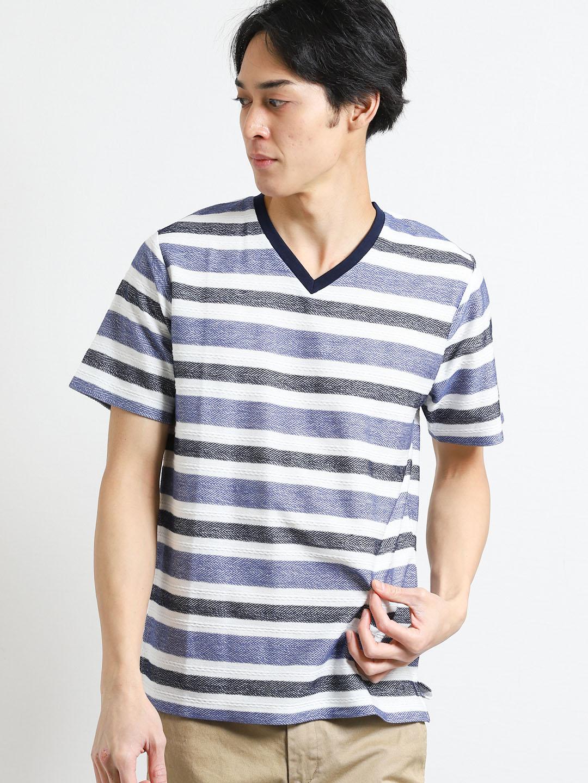 吸水速乾 ヘリンボンボーダーVネック半袖Tシャツ