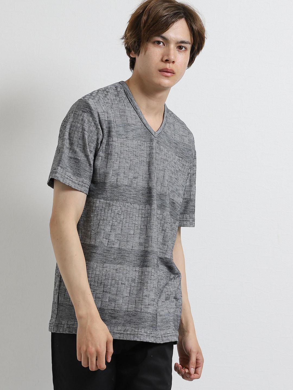 ジオメトリック市松ジャガードVネック半袖Tシャツ