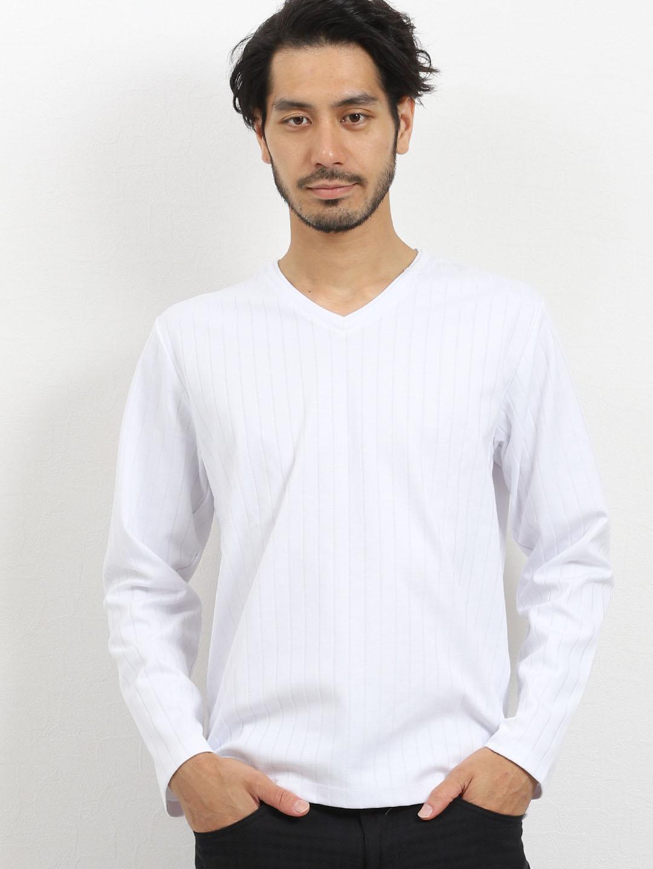 ブライトジャガードストライプ Vネック長袖Tシャツ