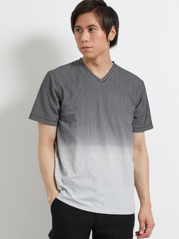 吸汗速乾 サッカージャガード グラデーションVネック半袖Tシャツ