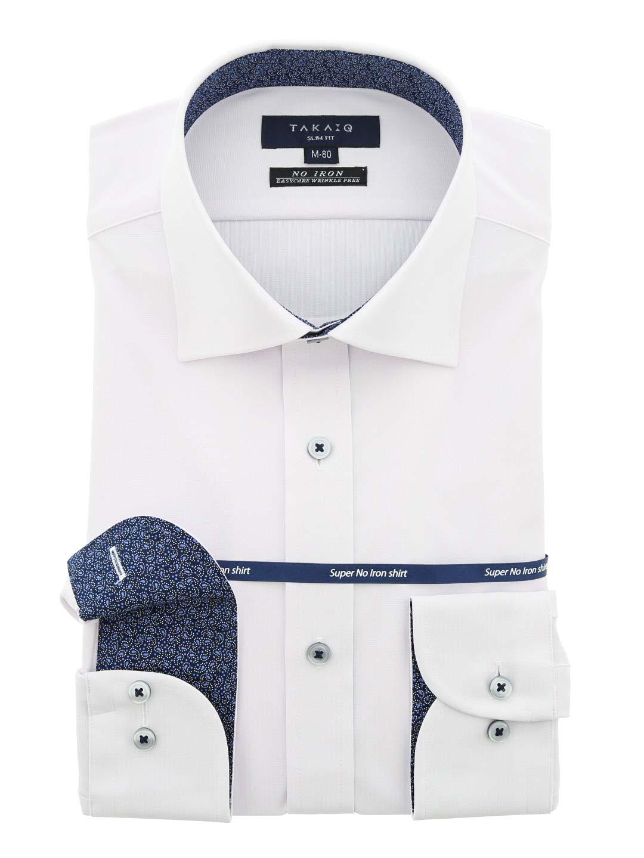 ストレッチ形態安定スリムフィット ワイドカラー長袖ニットシャツ