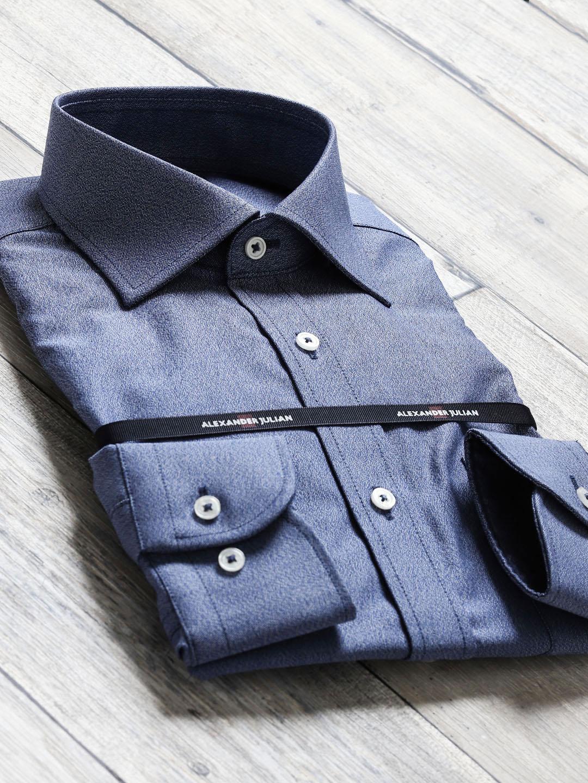 綿100%100双 形態安定スリムフィットワイドカラー長袖シャツ
