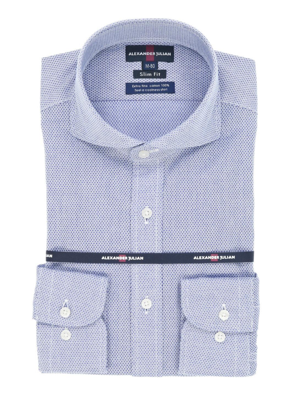 綿100%形態安定スリムフィットテープ縫製カッタウェイシャツ