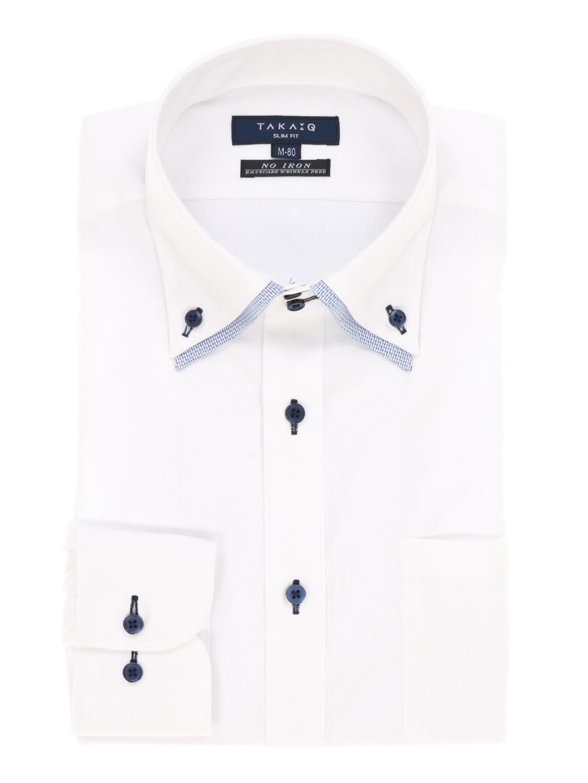 形態安定スリムフィット2枚衿ドゥエボタンダウンシャツ
