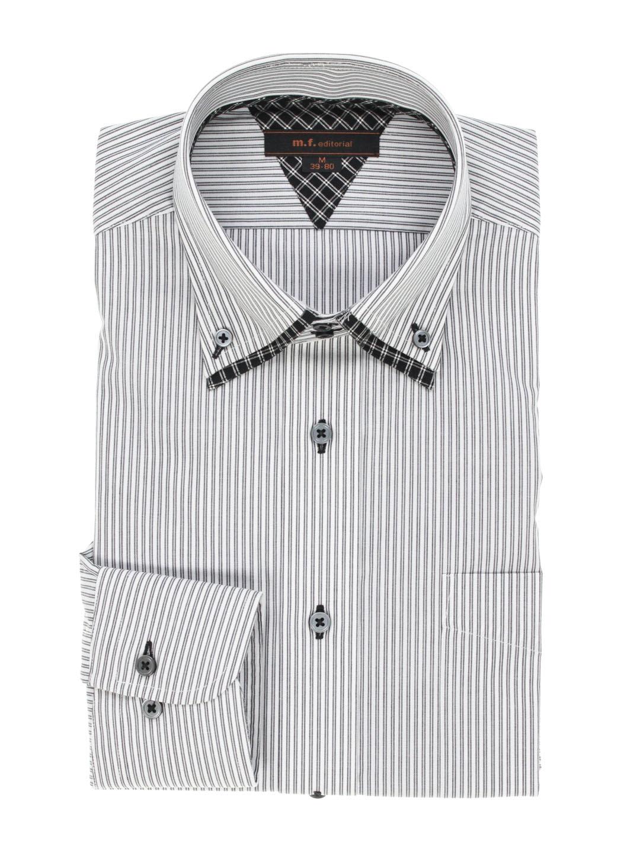 形態安定レギュラーフィット2枚衿ドゥエボタンダウン長袖シャツ